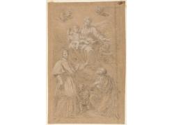 女神和信徒绘画