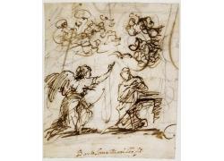 男人和天使绘画