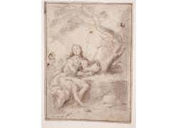 女人和羊绘画