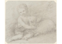 抱着羊的男孩绘画