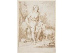 放羊的女人绘画