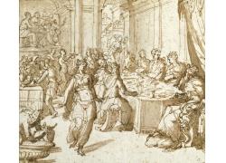 宴会上跳舞的女人绘画