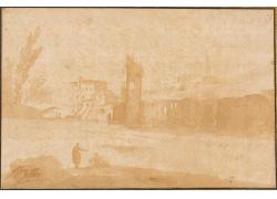 河边的男女绘画
