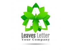 树叶字母A标志设计