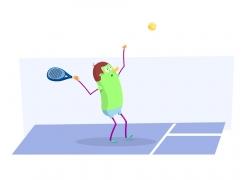 卡通网球运动员漫画