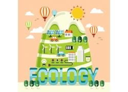 绿色环保卡通背景设计图片