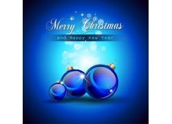 蓝色圣诞球背景