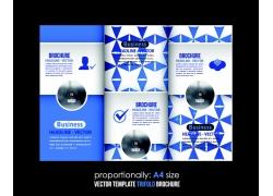 蓝色几何图形三折页图片