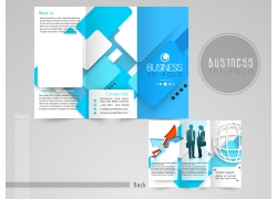 蓝色方块背景三折页设计图片