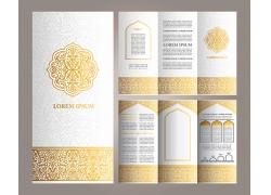 金色花纹宣传单模板图片