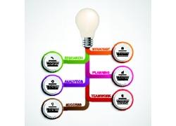 卡通电灯泡信息图表标签