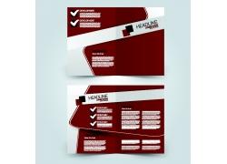 暗红色商务三折页模板图片