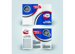 蓝色圆形商务三折页图片