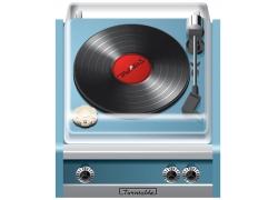 蓝色留声机播放器