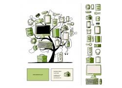 树上的电脑与记事本