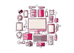 粉色电子设备模板