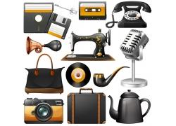 老式缝纫机和电话机