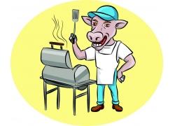 做美食的卡通牛图片