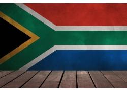 南非国旗背景与木板