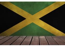牙买加国旗背景与木板