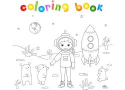 卡通宇航员简笔画图片