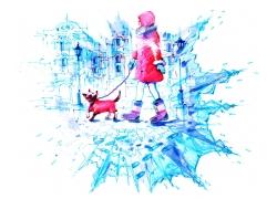 牵着小狗的女孩图片