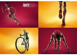 各种运动的男人与女人