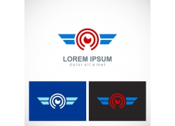 眼睛翅膀logo设计