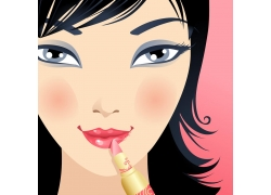正在化妆的美女