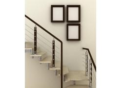 黑白挂画楼梯设计