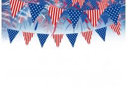 美国旗帜图案装饰物与烟花