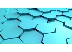 蓝色立体六边形背景
