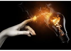 手指火焰电灯摄影