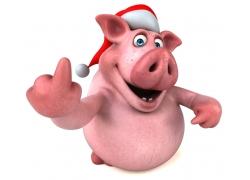 竖手指的卡通猪