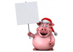 举着广告牌的卡通猪