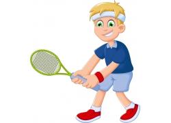 打网球的男孩