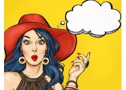 时尚女人和对话框