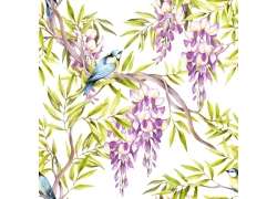 树枝花朵小鸟背景
