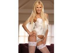 白色丝袜内衣美女模特