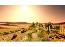 沙漠绿洲背景