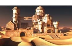 沙漠中欧式城堡