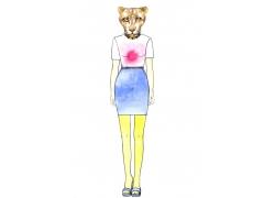 豹子头像女人插画图片
