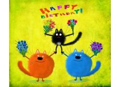 三只猫咪插画图片