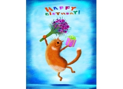 拿着鲜花礼物的猫咪插画图片
