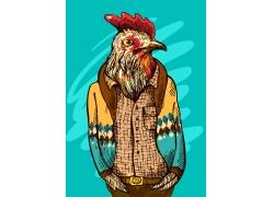 卡通公鸡头像人物插画图片