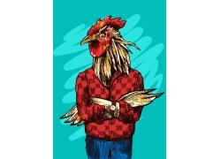 卡通鸡头人身插画图片
