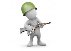 抱着枪的3D小人