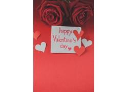 情人节玫瑰花和心形卡片图片
