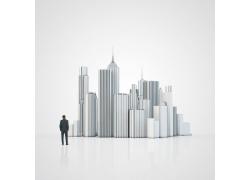 城市顶端商务男人