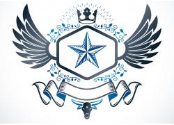 五角星丝带翅膀徽标